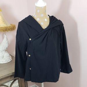 Black wrap asymmetrical jacket NWT Large